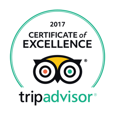Certificate of Excellence 2017 by TripAdvisor